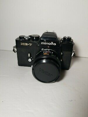 Minolta XE-7 35mm film Camera with Vivitar 28mm f/2.8 focus lens