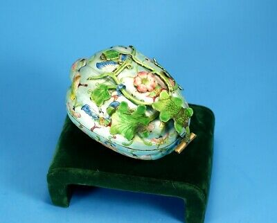 19th C Superb Fine Antique Chinese Enamel Copper Box in Unusual Form of Papaya !