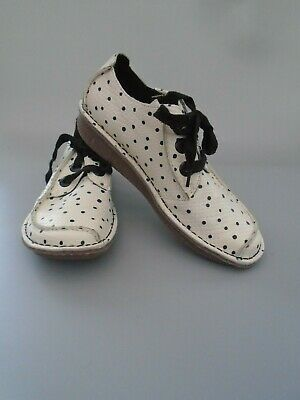 Womens Size 5.5D Clarks Funny Dream Off White & Black Polkadot Leather Shoes