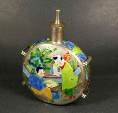 Unusual Antique Chinese Enameled Silver Wine Milk Pot - Republic Period