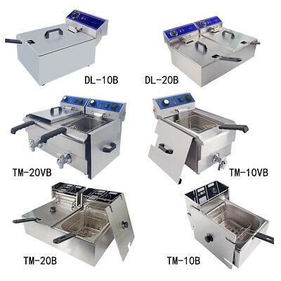Commercial Electric Deep Fryer Stainless Steel Fat Fryer Tank Basket Lid Chip