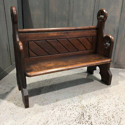 127cm Single Panel Big Cross Ended Antique Pitch Pine Pews from All Saints, Port