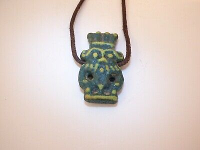 LARGE ANCIENT EGYPTIAN FAIENCE BES AMULET. Double Sided.  TIP 1070-712 BC