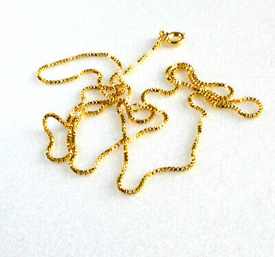 24K Yellow Gold Plated Designed B'D Shiny Box 55cm Chain Necklace 1mm Thin Small