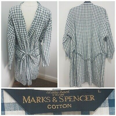 Vintage St Michaels Mens Cotton Check Green Cream Dressing Gown Robe Size Large