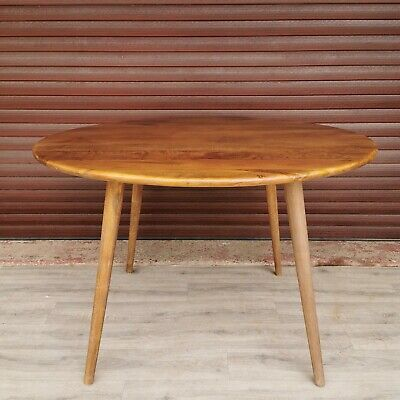 Gunna Round Mango Wooden Retro Dining Table With Tapered Legs