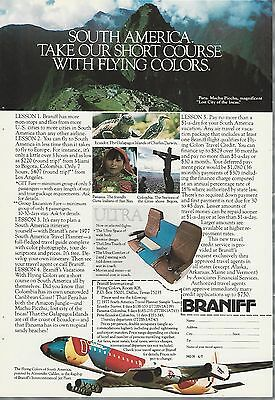 1977 BRANIFF advertisement, Alexander Calder painted plane, South America