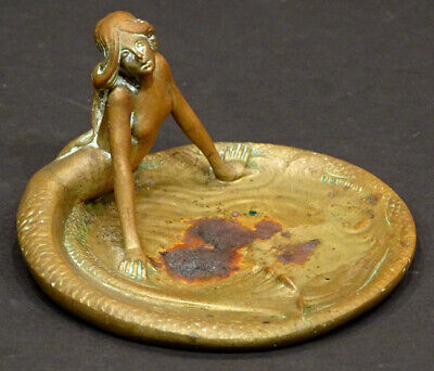 ANTIQUE Vintage ART NOUVEAU Austrian Bronze NUDE MERMAID Ashtray DRESSER TRAY