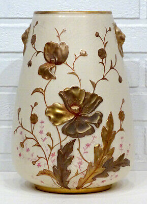 HUGE! 1800's Antique ART NOUVEAU Hand Painted CROWN ROYAL DEVON Porcelain Vase