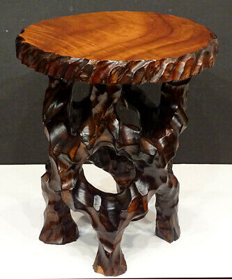 BRUTALIST Vintage CARVED WOOD Redwood Cypress NATURAL SLAB TOP Side End Table