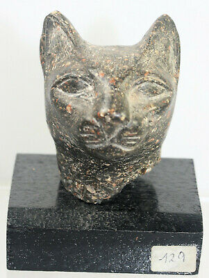 Cat head on wood base - possibly Egyptian