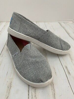 Toms Shoes Girls Size Y 2 Silver Slip On
