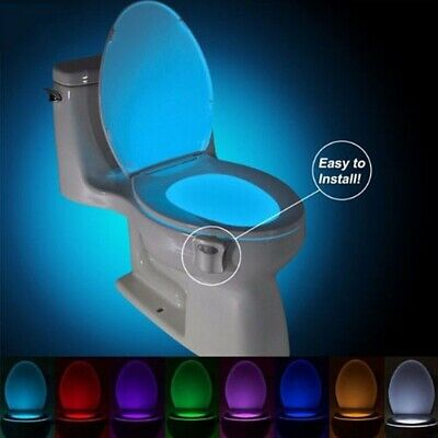 8Color Changing LED Toilet Bathroom Night Light Motion Activated Seat Sensor New