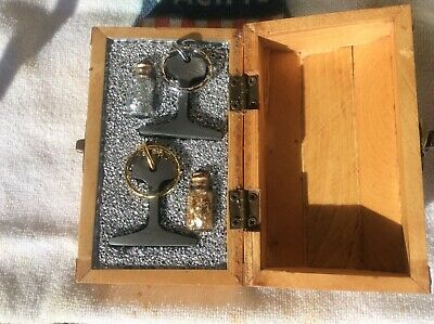 Vintage Mining Rail(1881)Keychains W/Gold & Silver Flakes in Wooden Box🇺🇸