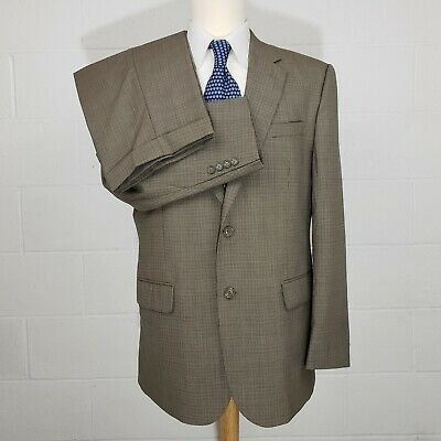 Jos A Bank Olive Brown Check Houndstooth Mens 42R Wool 2 Piece Suit 35x30 Pleats