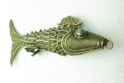 Vintage Gold wash Sterling Filigree Articulated Fish Pendant Turquoise Eyes