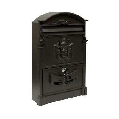 ALEKO Elegant Wall Mounted Mail Box with Retrieval Door 2 Keys and Bolts BLACK