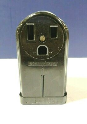 Leviton Black Power Receptacle Bakelite Surface Mounted 2-Pole 3Wire 5377 NEW