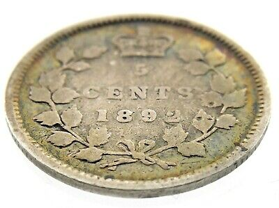 1892 Canada Five Cents Small Silver Canadian Circulated Victoria Coin M844