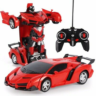 Kids Children Transformer RC Robot Car Electric Automatic Light Music Gift Toys