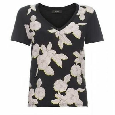 NEW RRP£130 Paul Smith Black Label Pink Black Floral Print Jersey Silk T-Shirt S