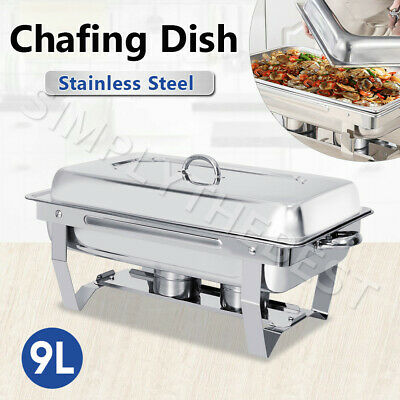 9L Foldable Chafing Dish Bain Marie Bow Food Buffet Warmer Heater Stackable Set