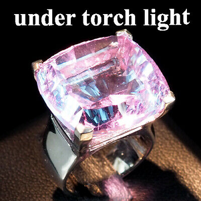 Change Blue Purple Spinel Ring Antique Concave 25.9Ct. 925 Sterling Silver Sz4.5