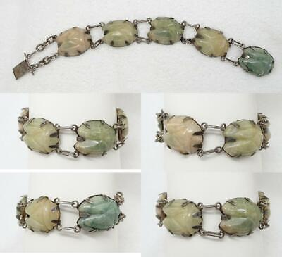 Antique Egyptian Revival Handwrought Silver & Carved Aventurine Scarab Bracelet