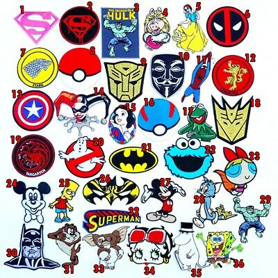 Cute Cartoon Super Hero Movie Characters Iron On Patches Sew Embroidered DIY #1