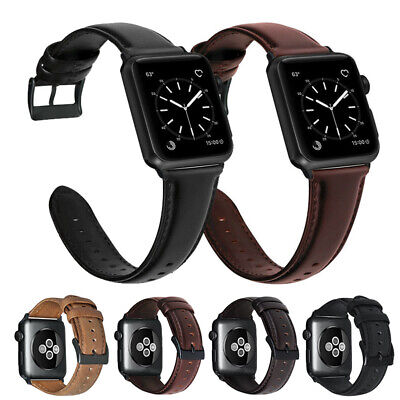 Oily Genuine Leather Watch Band For Apple iWatch Series 5 4 3 Strap 40/42/44mm