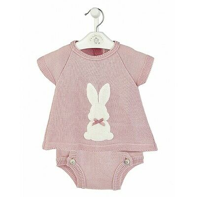 Dandelion Baby Girls Spanish Romany Pink Knitted Tunic & Jam Pants Bunny Outfit