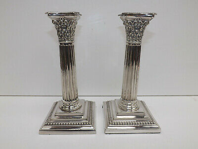Antique Victorian Pair Of Martin Hall & Co Corinthian Silver Plaled Candlesticks