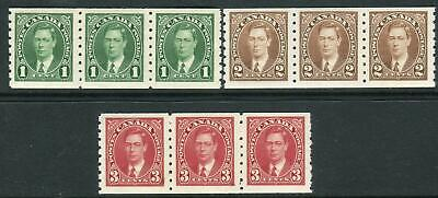 CANADA-1937 Coil Stamps in unmounted strips of 3 Sg 368-370