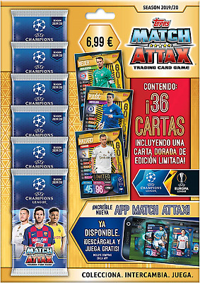 Topps- Match Attax-UEFA Champions League Game 2019/20 Pack of 6 Each 36 Cards