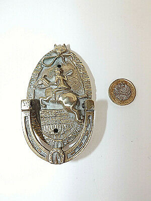 "Victorian/Edwardian Brass ""GOOD LUCK"" Fox Hunting Door Knocker With Kite Mark"