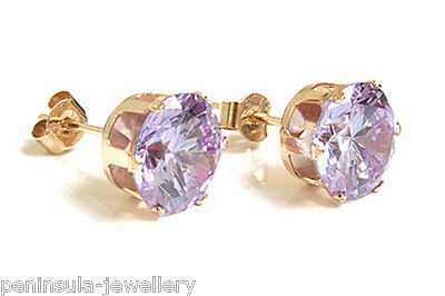 9ct Gold Round 7mm CZ Stud Earrings Made in UK Gift Boxed Studs