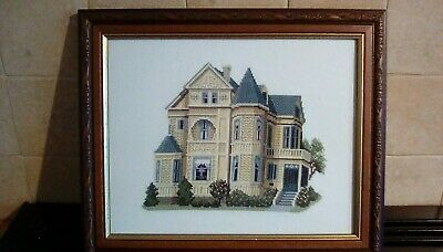 "Completed Cross Stitch ""Gough Street"" San Francisco Design by Debbie Patrick"