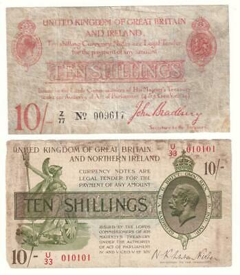 A Pair of Old 10 Shilling Treasury Banknotes (from 1915 and 1927)