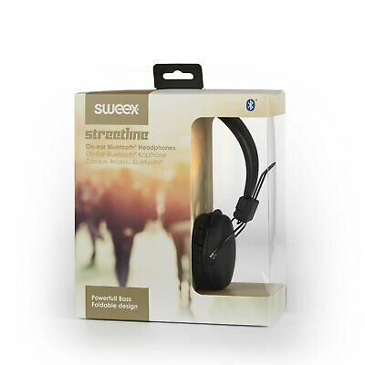 Sweex Bluetooth On-Ear Headphones Wireless or Wired Headset Foldable Black