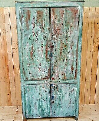 Victorian Four Door Cupboard with Distressed Paint Finish