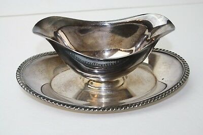 Rogers Bros Gadrooned Pattern Silver Plate Gravy Sauce Boat Serving Vintage