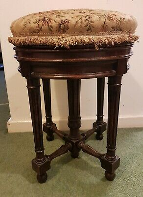 Antique French Walnut Wind Up Piano / Dressing Table Stool Floral Tapestry C1900