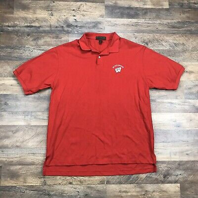 Rivalry Threads Wisconsin Badgers Dri Fit Heather Red Adult Mens Polo Shirt