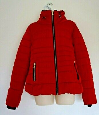 Ladies size 14 red warm puffer jacket coat with gold coloured zips vgc