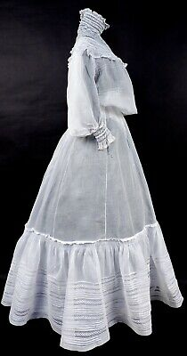 Romantic Victorian Turn Of The Century White Day Dress W Lace Insertion