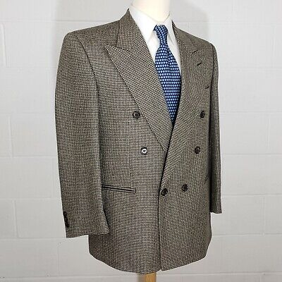 Vito Rufolo Double Breasted Mens 40S Brown Check Silk Wool Blazer Jacket Italy