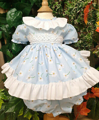 Dream Spring Sky Blue Daisy Short Spanish Puffball Girls Dress And Pants Set