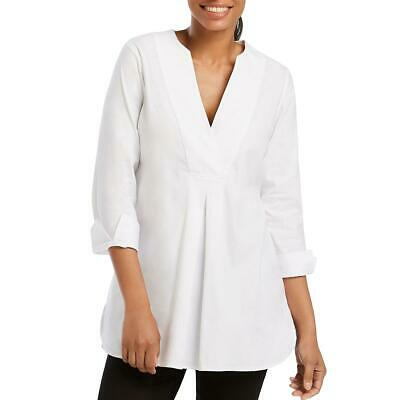 Foxcroft Womens Vaughn White Box Pleat Split Hem Tunic Top Blouse 2 BHFO 4726