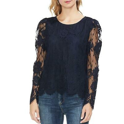 Vince Camuto Womens Navy Lace Overlay Puff Sleeves Blouse Top M BHFO 0818
