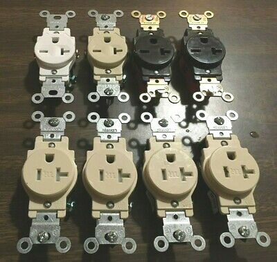 Leviton Single Outlets-(Sold As A Lot Of 8: 4-20 Amp/125V; 4-20 Amp/250V)-New